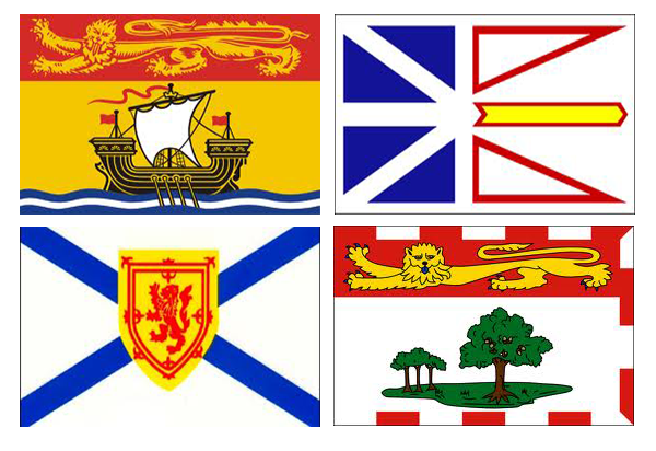 Flags of the for Atlantic Canada provinces